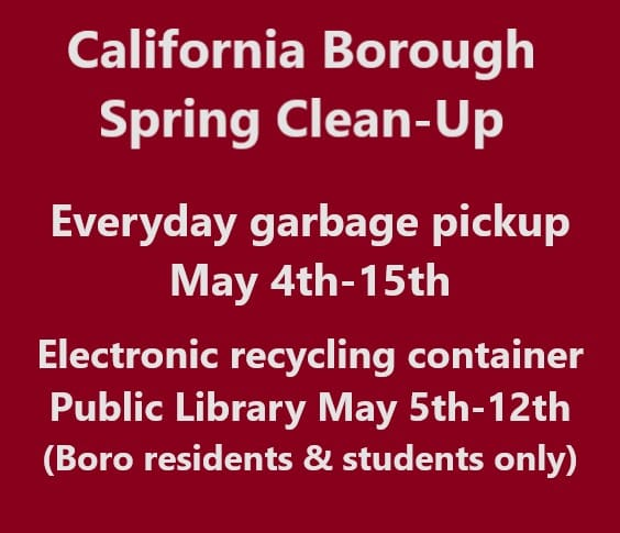 California Borough spring cleanup underway May 6 - 18