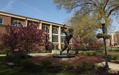 The Vulcan Statue in front of Herron Hall on the campus of California University of Pennsylvania, May 2020.