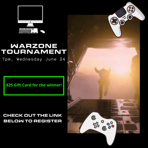 Cal U student gamers: Warzone Tournament, Wednesday, June 24