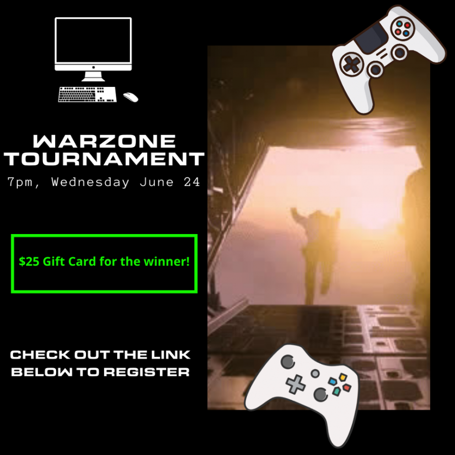 Cal U student gamers: Warzone Tournament, Wednesday, June 24