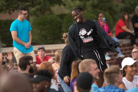 Cameron Nichols, a senior graphics and multimedia major from Washington DC, participates in Cal U's new student Welcome Weekend, Fall 2018.