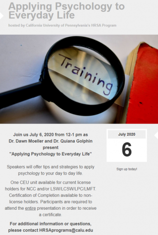 """Applying Psychology to Everyday Life"" Summer Series event hosted by Cal U's HRSA Program"