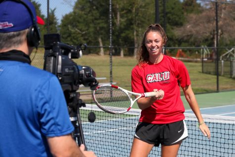 Cal U Head Tennis Coach Anita Onufer recording a video presentation for the annual Athletics Day of Giving scholarship fundraiser set for Sept. 22, 2020