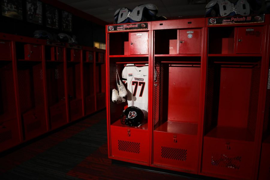 The Cal U football team's locker room at Adamson Stadium highlighted Jamain Stephen's locker to be included in a virtual memorial ceremony presented by the University on Thursday, Sept 10.