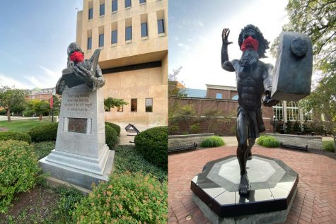 The statue of philanthropist and businessman Robert Eberly outside of Manderino Library and the Vulcan statue on the Cal U campus Quad have each been fitted with a mask to remind all of us to stay safe during the COVID-19 pandemic.