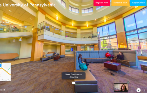 """A tour guide introducesCal U's Natali Student Center on the virtual tourofferedas part of the """"Experience Cal U"""" section ofthe university'swebsiteatwww.calu.edu/visit."""
