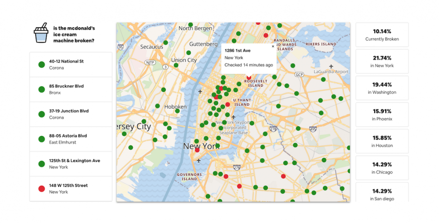 Showing+a+map+of+New+York+City%2C+McBroken+tracks+working%2Fnot+working+ice+cream+machines+with+red+or+green+dots.+