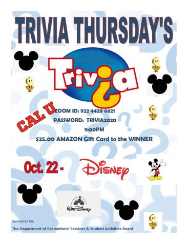 Poster advertising Disney themed trivia for the most recent trivia Thursday.
