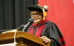 University President Geraldine M. Jones addresses graduates at California University of Pennsylvania's 183rd Undergraduate Commencement ceremony, Convocation Center, Dec. 17, 2016.