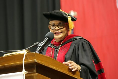 University President Geraldine M. Jones addresses graduates at California University of Pennsylvania