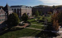 Aerial image of Dixon Hall and Louis L. Manderino Library of California University of Pennsylvania.