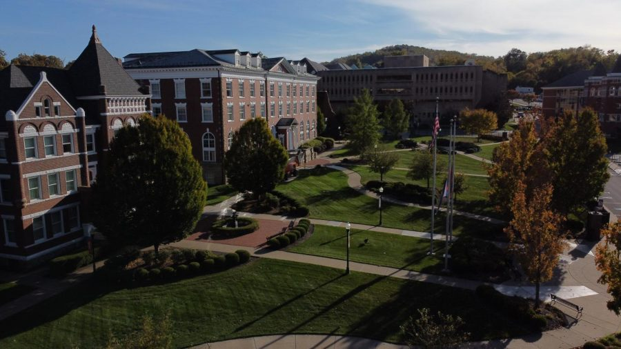 Aerial image of Dixon Hall and Louis L. Manderino Library of California University of Pennsylvania.