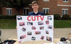 Dillon Gaudet representing CUTV at the Cal U Club and Organization Fair, Sept. 12, 2017 (File photo)