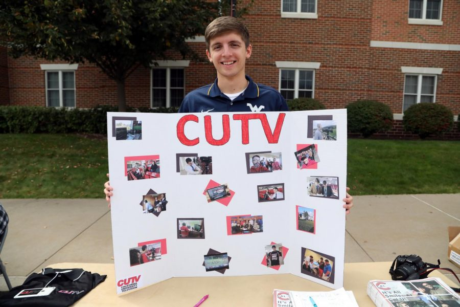 Dillon Gaudet representing CUTV at the Cal U Club and Organization Fair, Sept. 12, 2017 (File photo)