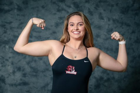 Kelly Mark, a sophomore from Palm Beach Gardens, Florida, competes for Cal U in the breaststroke, individual medley, and freestyle events for the Cal U swimming team.