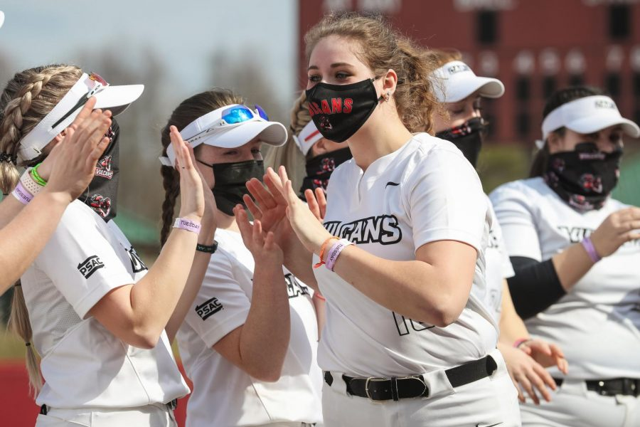 Vulcans' softball team pitcher Ellie Lobdell introduced during the starting player line-ups at the season home opener at Lilley Field, California, Pa. on March 9, 2021