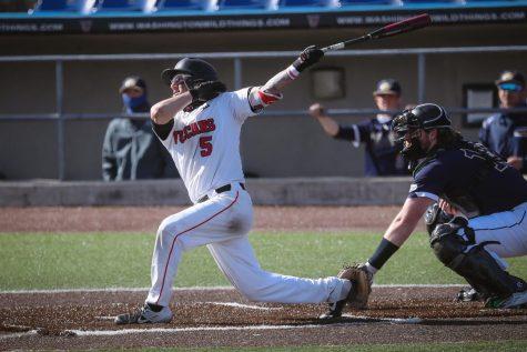 Cal U junior second baseman Anthony Venezia (5) at bat against Clarion University, Wild Things Park, Washington, Pa., March 13, 2021.