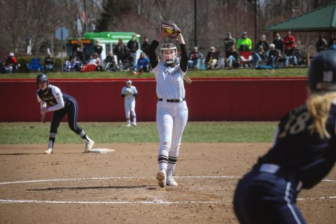 Freshman pitcher Kaitlyn Leary earned the 11-1 victory in Game 1 of the doubleheader against Clarion at Roadman Park