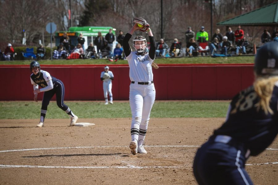 Freshman pitcher Kaitlyn Leary earned the 11-1 victory in Game 1 of the doubleheader against Clarion at Roadman Park's Lilley Field, California Pa. on Saturday, March 20, 2021.
