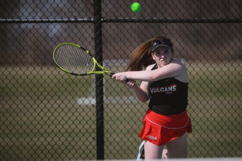 Kylie Feltenberger, a freshman from Franklin, Pa., competing in the Cal U tennis match vs. Fairmont State, California, Pa., March 20, 2021