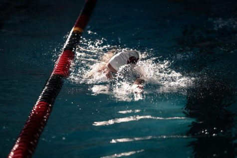 Cal U senior swimmer Arli Tilves  in the pool before a virtual PSAC swimming meet in Hamer Hall, March 27, 2021