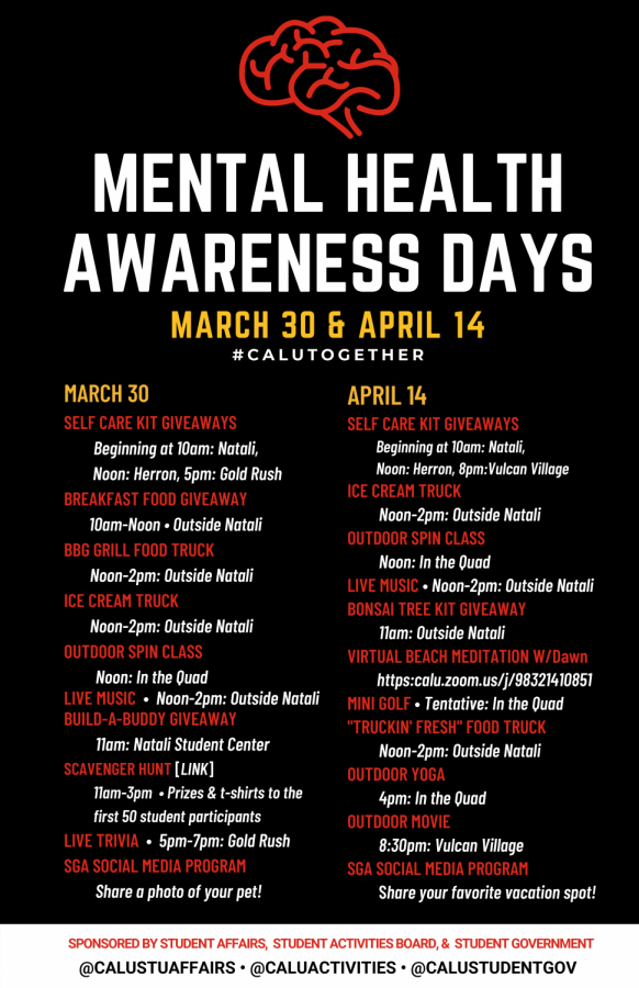 Cal U Mental Health Awareness Days schedule of events.