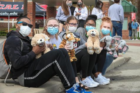 "The ""Build-a-Buddy"" stuffed animals are popular giveaway items at the Cal U Appreciation Day on campus, April 14, 2021."