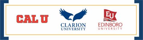 Logos of Cal U, Edinboro and Clarion universities.