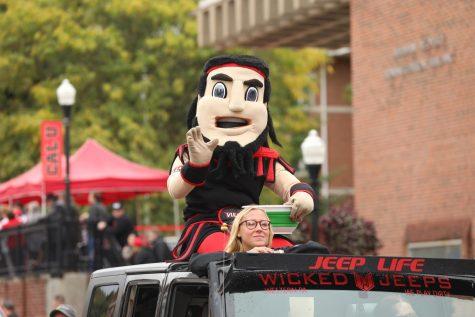 (FILE Oct. 12, 2019) Vulcan mascot Blaze rides in the 70th annual California University of Pennsylvania Homecoming Parade