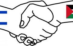 Israel-Palestine handshake symbol