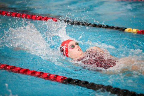 Cal U sophomore Antonia Gheorghita wins the 100 yard backstroke by over three-tenths of a second with a time 1 minute, 3.68 seconds at the tri-meet versus Frostburg State and Davis & Elkins, Hamer Hall, Oct. 23, 2021.